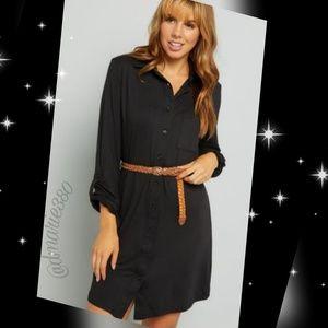 Trendy so-soft Black dress w/braided belt
